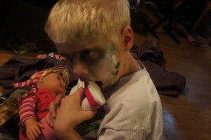 My son being a zombie