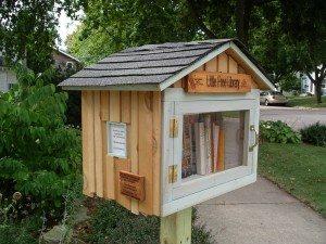 community building through books, neighbor to neighbor, micro library, book sharing, birdhouse library,