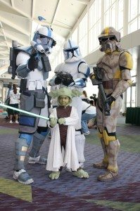 Left to right: Zach Winnermark, Dakster Sullivan, Dave Young, and Yoda - Galactic Academy member. Attending Autism Walk 2011