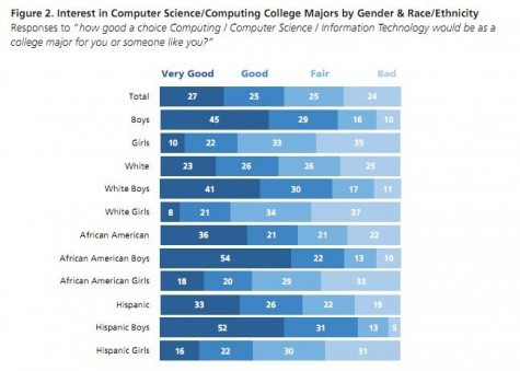 DotDiva market research data on interest in CS, by gender and race