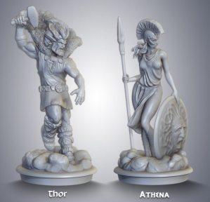 Pre-production resin sculpts.