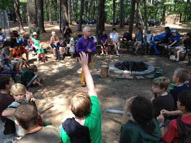 Campers direct the evolving storyline by discussing the next action to take, as a group, at briefing sessions like this. (Photo: Ethan Gilsdorf)