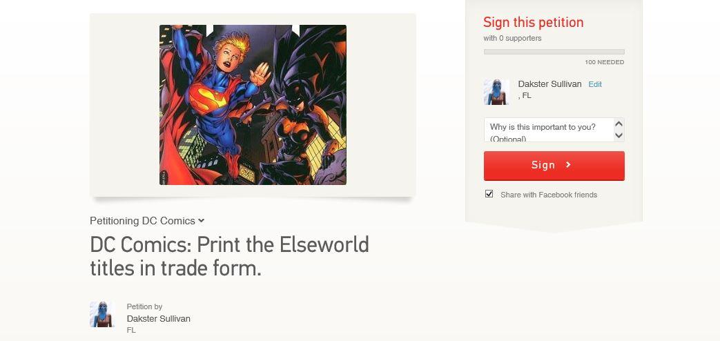 Elseworld Petition Image: Dakster Sullivan