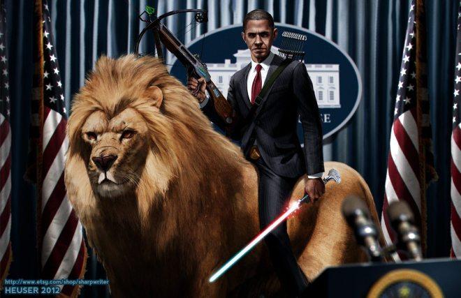 Obama Riding a Lion