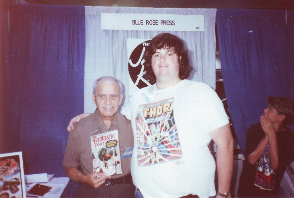 The author of Shattering Conventions: Commerce, Cosplay and Conflict on the Expo Floor, Bob Calhoun, with legendary comic book artist Jack Kirby at Comic-Con, 1992. (Photo: Bob Calhoun)
