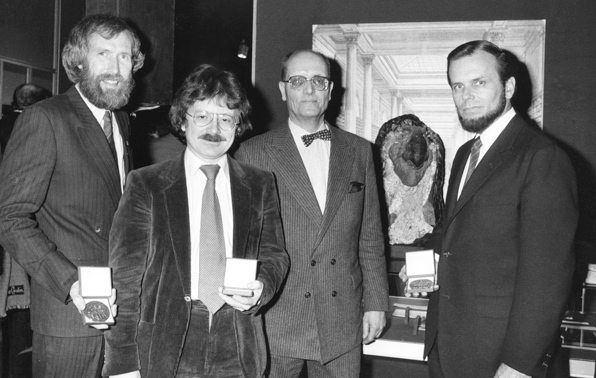 Worldcon Fantasy Convention in Chicago, September 5, 1982 [left to right]:  Jim Henson, Brian Froud, unknown and Gary Kurtz present at the convention (Image: (C) 2013 The Jim Henson Company)
