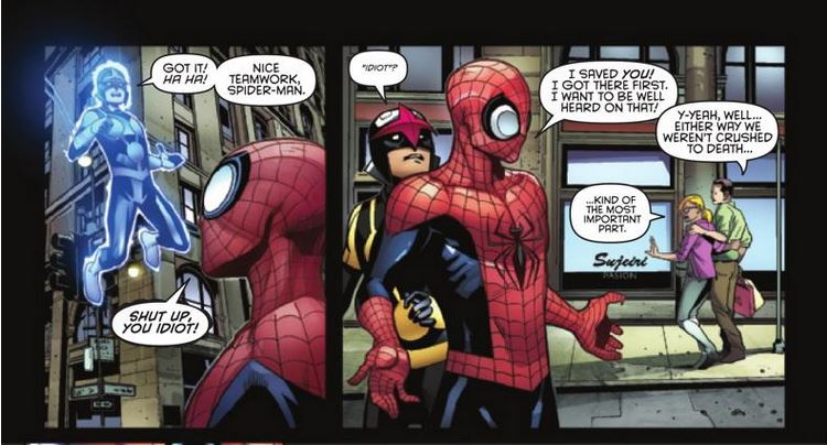 Nova and Spidey Jerk...umm...Superior Spider-Man  Image: Copyright Marvel