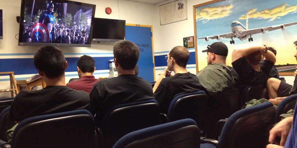 """A little """"Avengers"""" before the flight briefing to calm the nerves."""