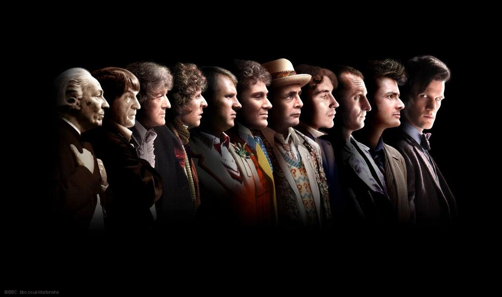 Eleven Doctors, all in a row, image from the BBC