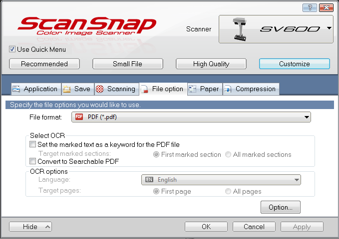 SV600 Settings