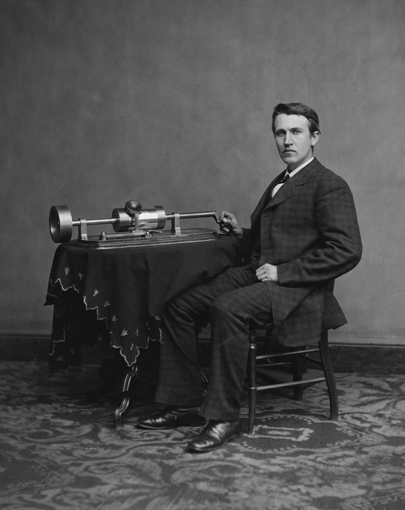 Here is Edison, with one of his more successful projects, the phonograph. Photo: Italy's Wikipedia