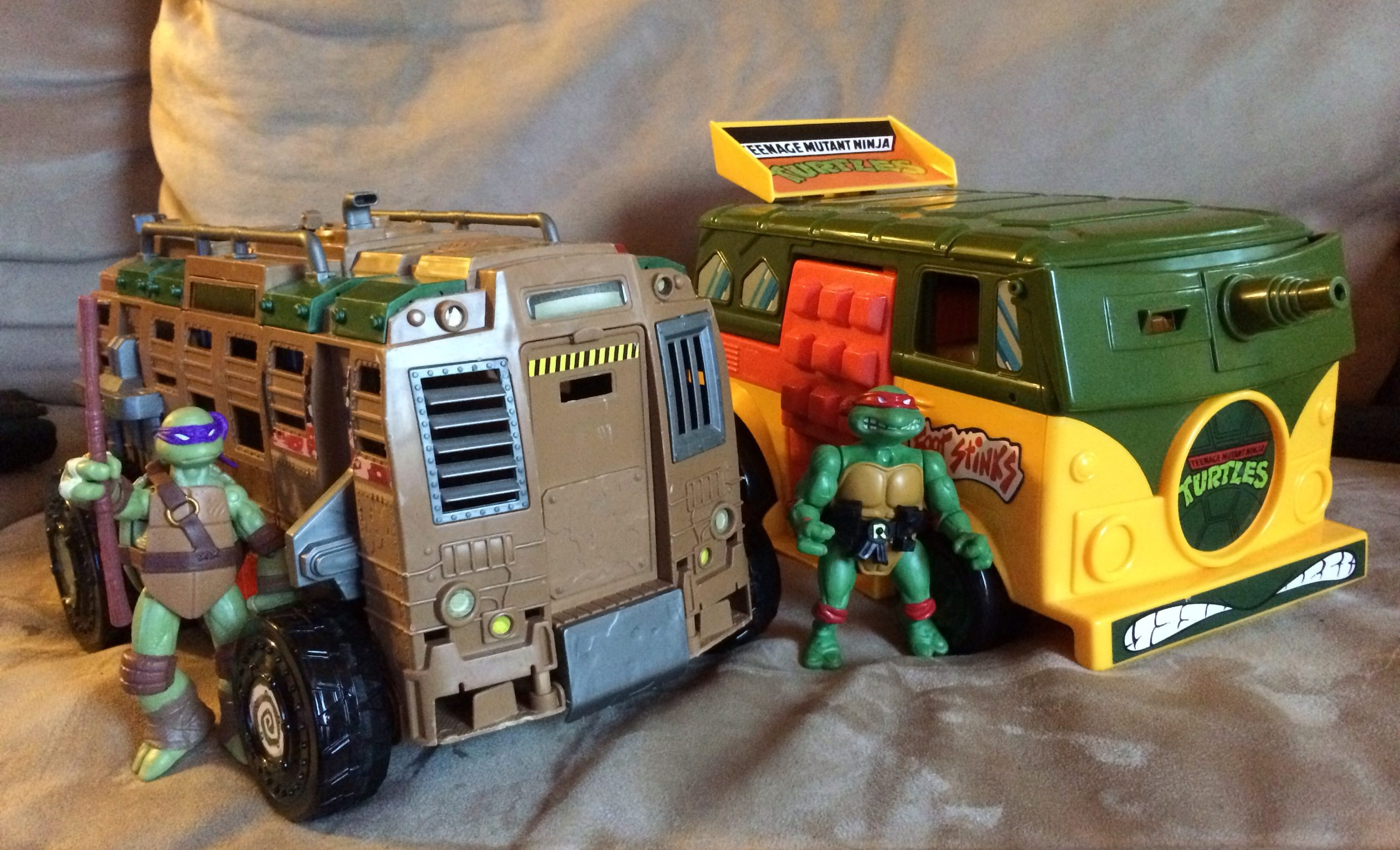 My son's TMNT toys (left) and my TMNT toys (right).  Image: Dakster Sullivan