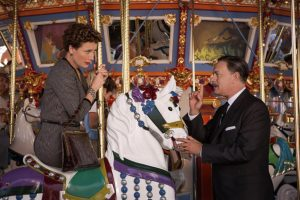 The immovable object (Emma Thompson as P.L. Travers) meets the irresistible force (Tom Hanks as Walt Disney) in  Saving Mr. Banks.