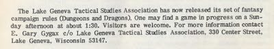 An ad from El Conquistador, inviting people to play D&D at Gary Gygax's house. (Image: http://playingattheworld.blogspot.com)
