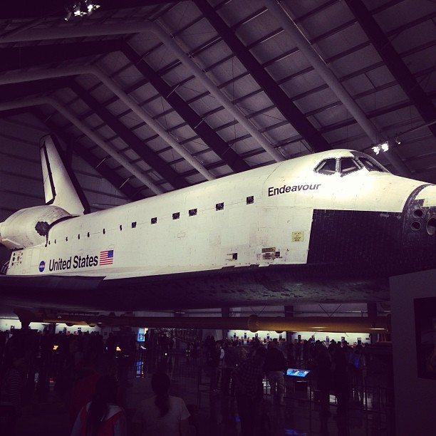 Space shuttle Endeavour at California Science Center. Photo by Ariane Coffin.