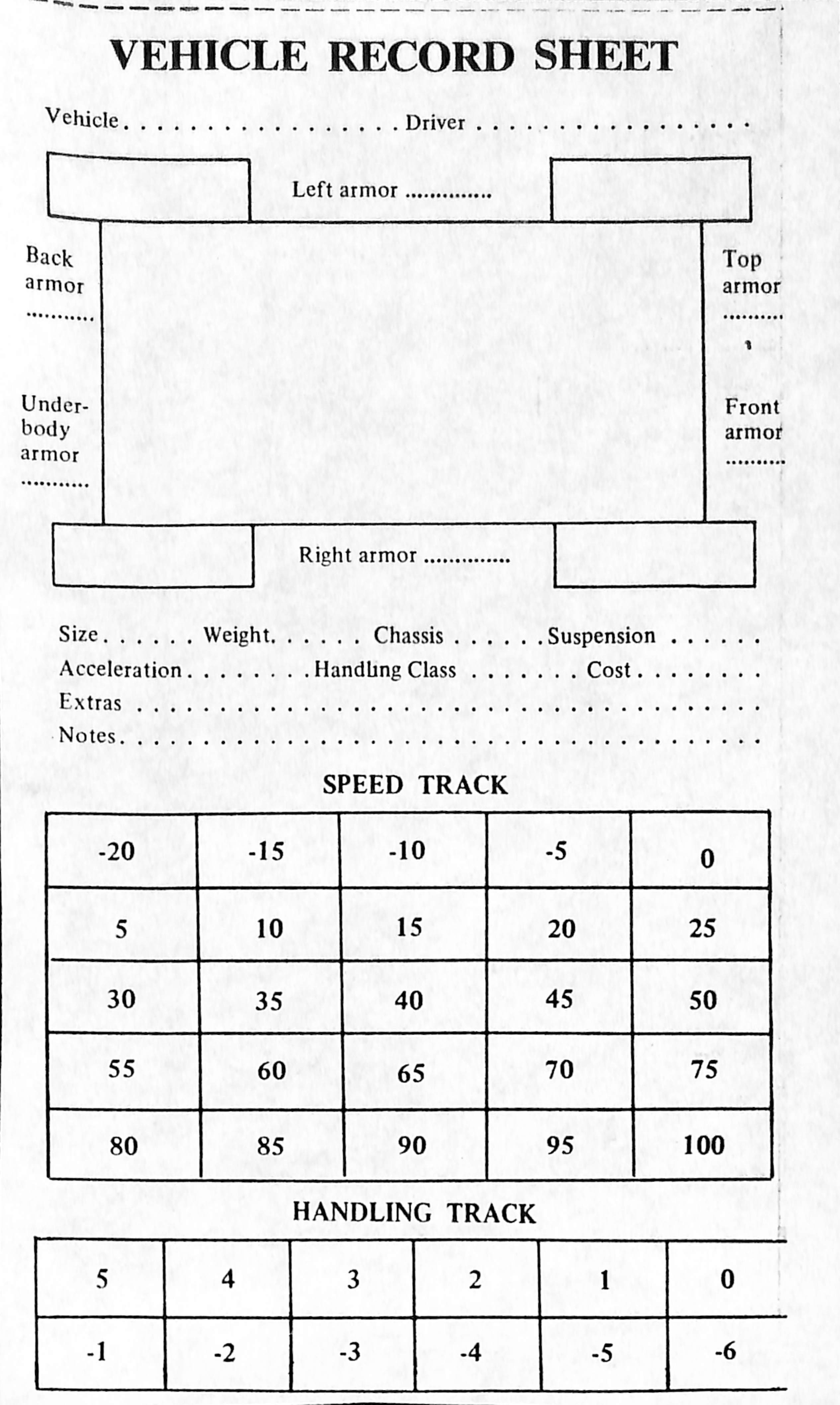 Vehicle Sheet