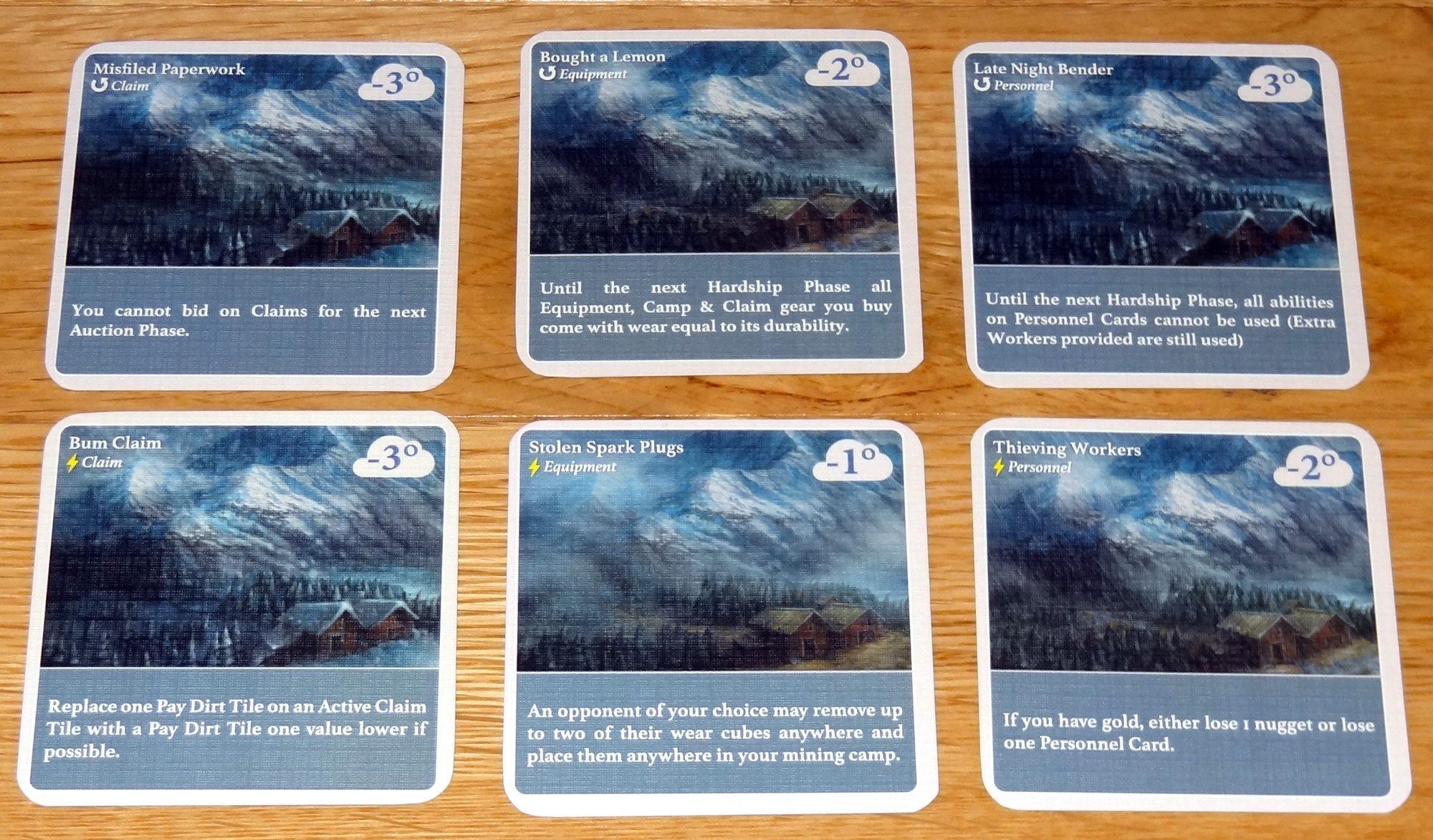 Hardship cards
