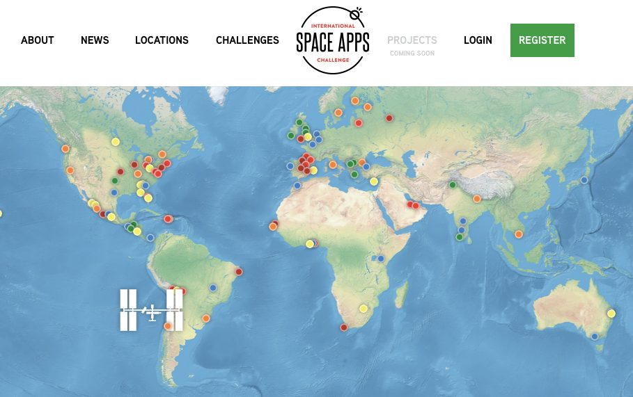 Space Apps Challenge. Screenshot by Ariane Coffin.