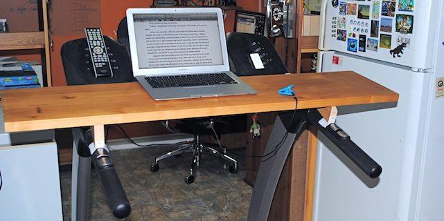 A home-made treadmill desk