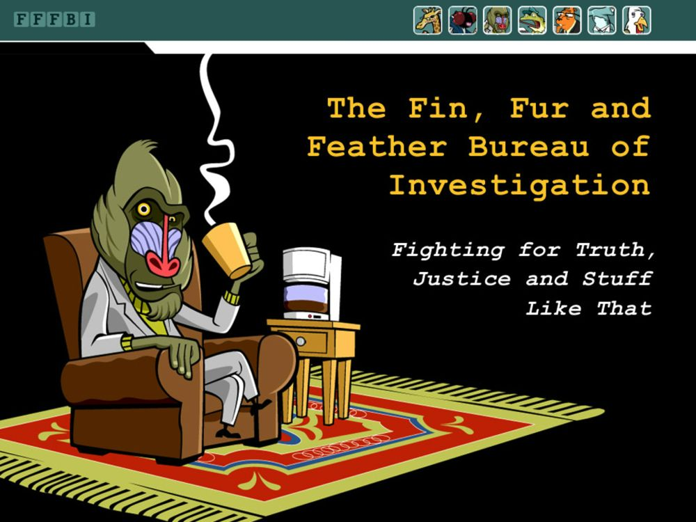 Splash screen featuring the Fin, Fur and Feather Bureau of Investigation. Image: WGBH 2014