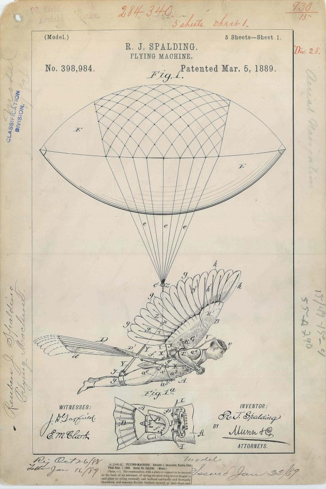 A patent drawing for one of many flying machines designed in the 1800s. (For more information, visit http://todaysdocument.tumblr.com/post/44617841226/patent-drawing-for-r-j-spaldings-flying)