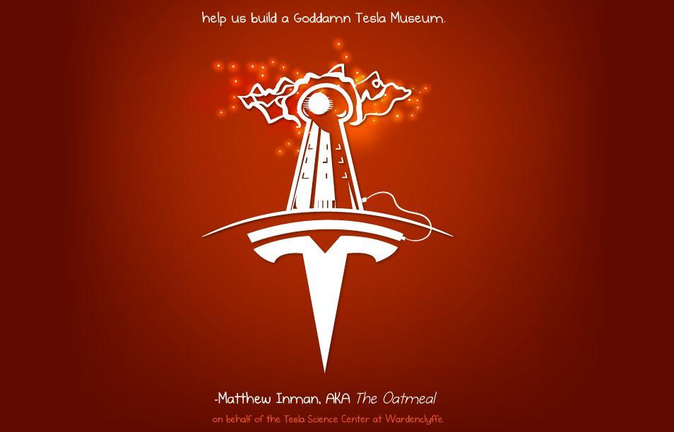 Inman pleads Musk to help finance the Tesla museum. Image credit: theoatmeal.com