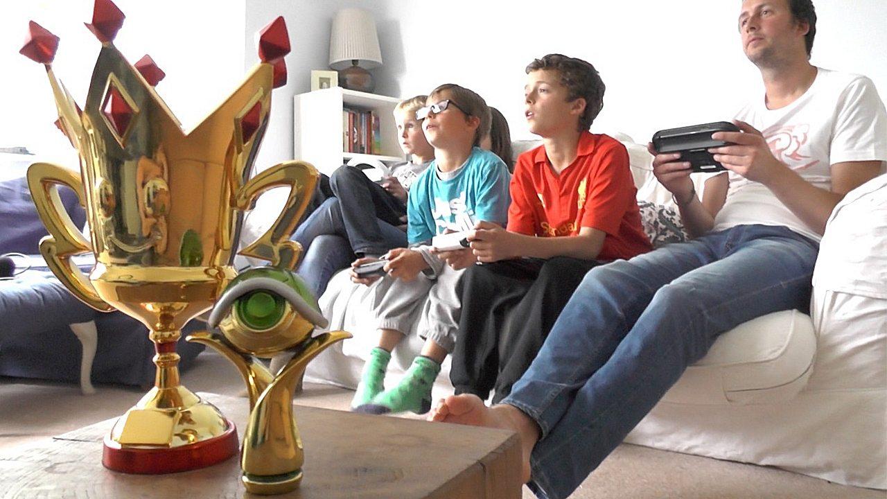 Family Competes at Mario Kart 8