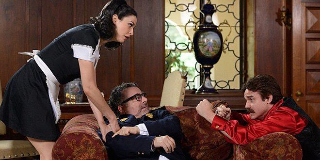 "Myka, Artie, & Pete track down an artefact inside the ""Savage Seduction"" telenovela © SyFy"