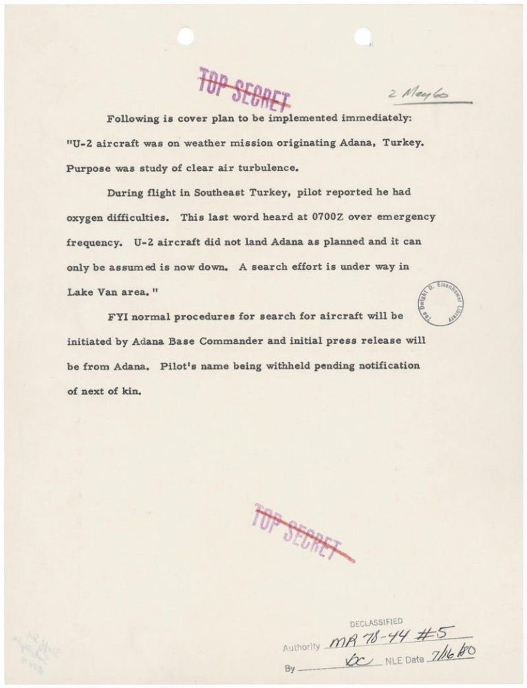 This details the cover story that addresses the U-2 bomber shot down in 1960, National Archives. (For more information, visit http://www.archives.gov/historical-docs/todays-doc/?dod-date=502)