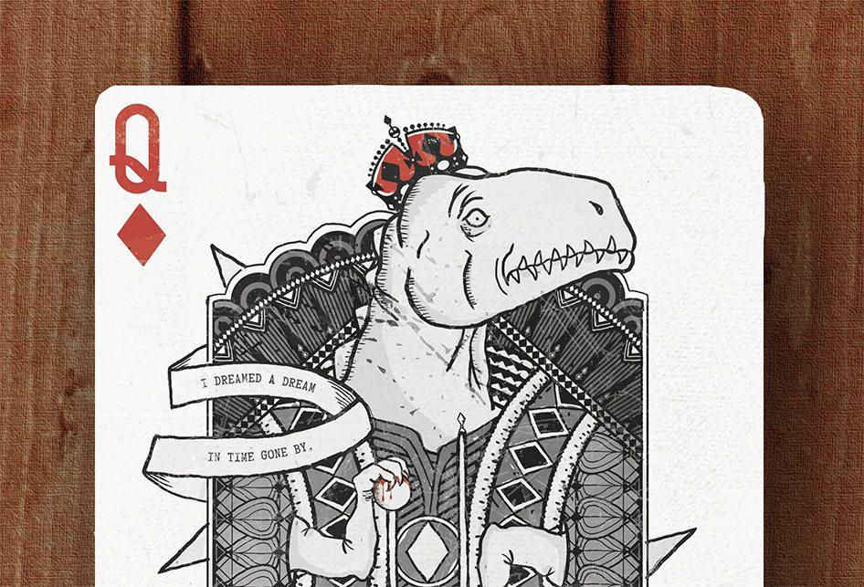 Royal Dinosaur cards - queen of diamonds
