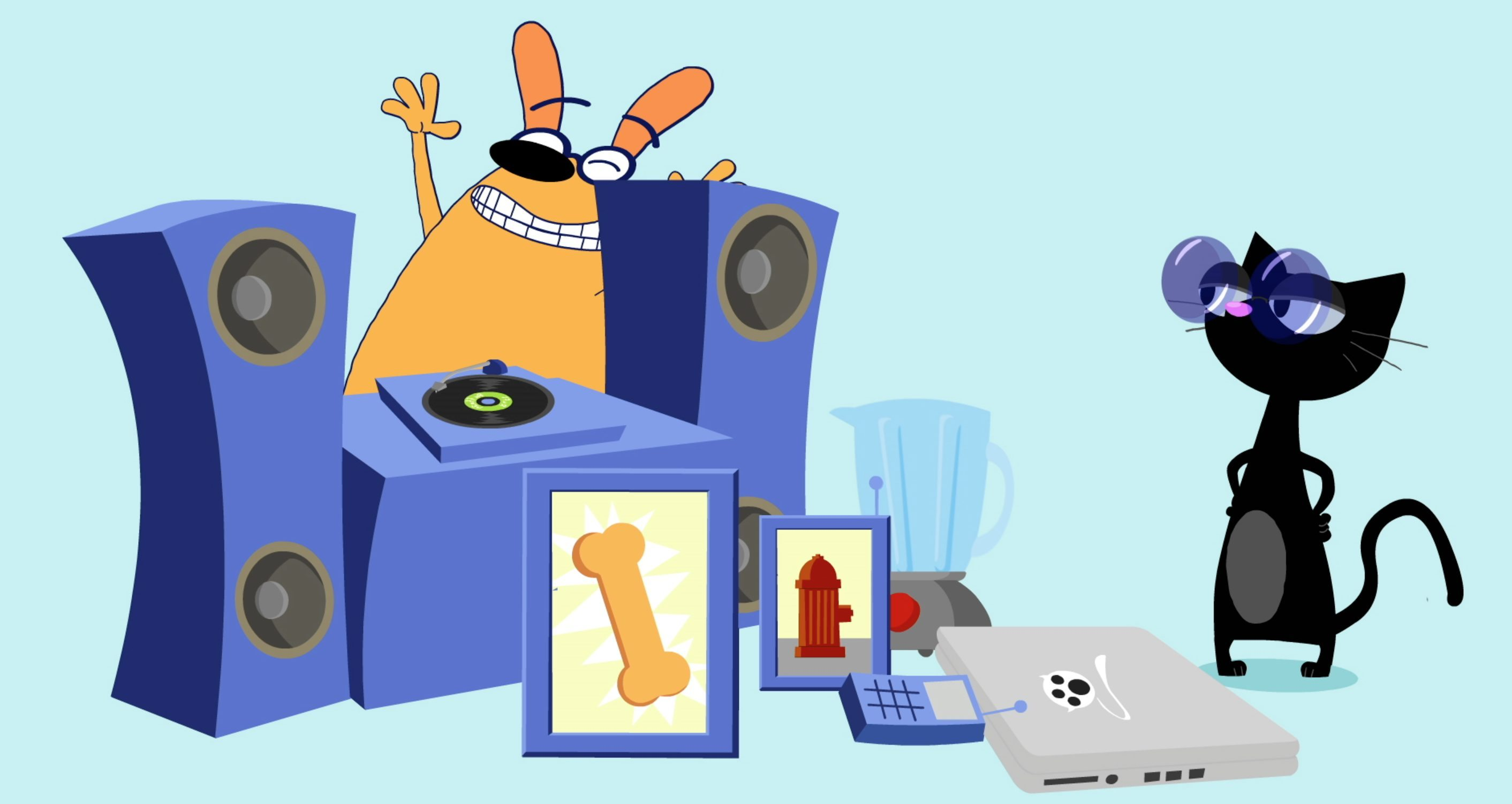Ruff Ruffman and pile of gadgets. WGBH 2014