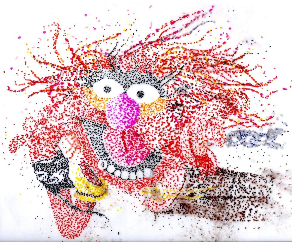 Pointillism gives the artist a new way of looking a familiar characters. Images by Lisa Kay Tate