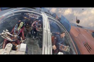 "The self-described ""Guardians of the Galaxy"" fly into battle; (l-r) Gamora (Zoe Saldana), Drax (Dave Bautista), and Peter (Chris Pratt)."