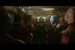 Yondu (Michael Rooker) confronts Peter Quill (Chris Pratt) about the whereabouts of the orb.