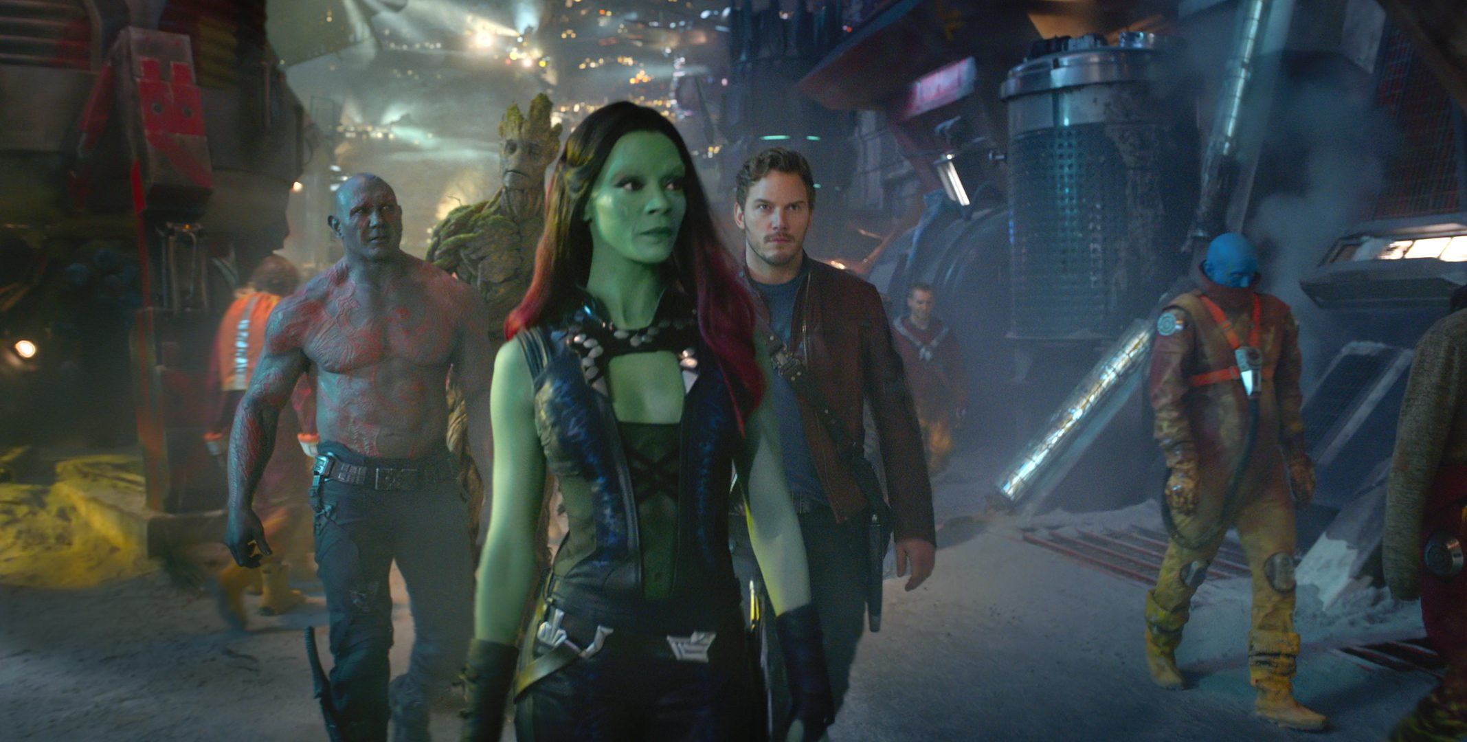 Marvel's Guardians Of The Galaxy L to R: Drax (Dave Bautista), Groot (Voiced by Vin Diesel), Gamora (Zoe Saldana), and Star-Lord/Peter Quill (Chris Pratt) Ph: Film Frame ©Marvel 2014