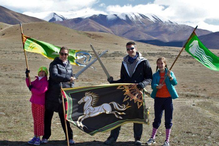 Our family posing on Pelennor Fields
