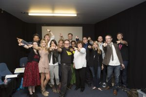 """The cast of The Middleman at the reading of """"the Pan-Universal Parental Reconciliation"""" in June, 2014."""
