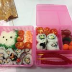 My finished bento box. Fun, but too much work for me to keep it up! Photo credit: Ariane Coffin.