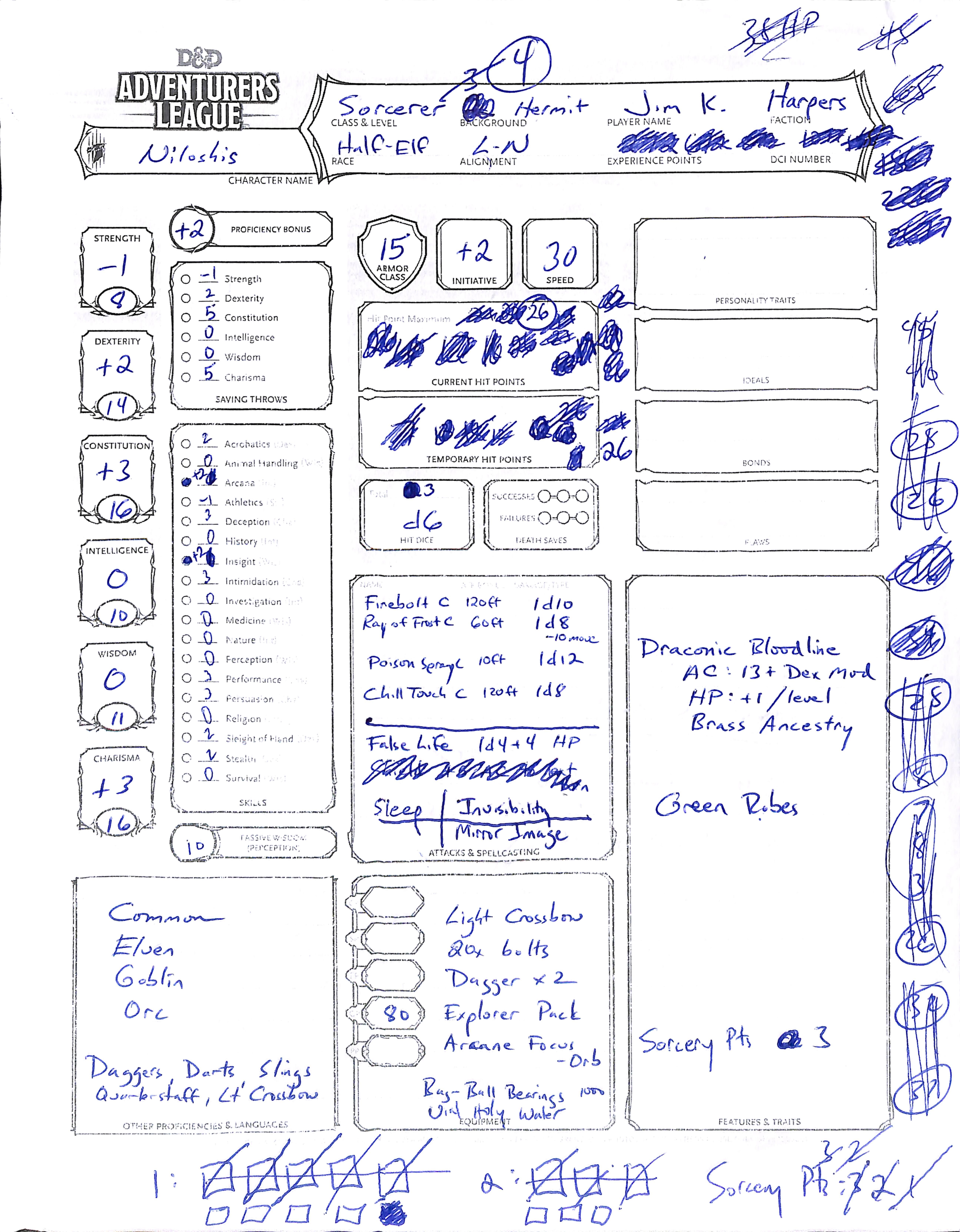 Level 3 Character Sheet