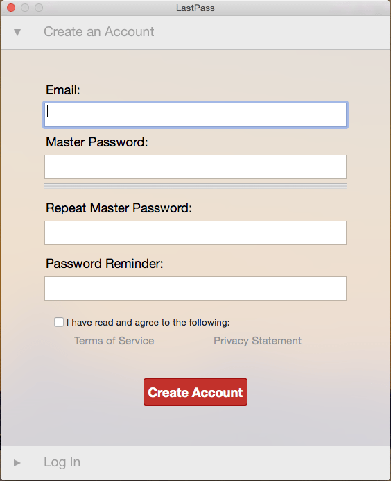Account creating screen displayed for new users. Requires email address, password, password confirmation, and password hint.