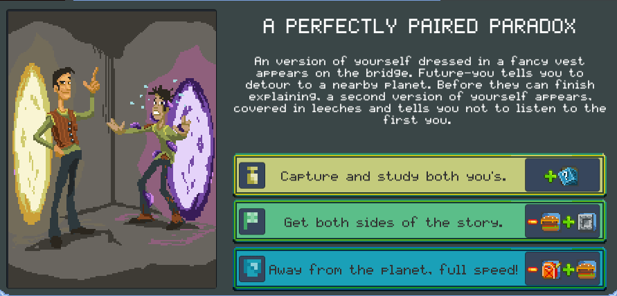 Screenshot from Orion Trail showing two captains from the the future.
