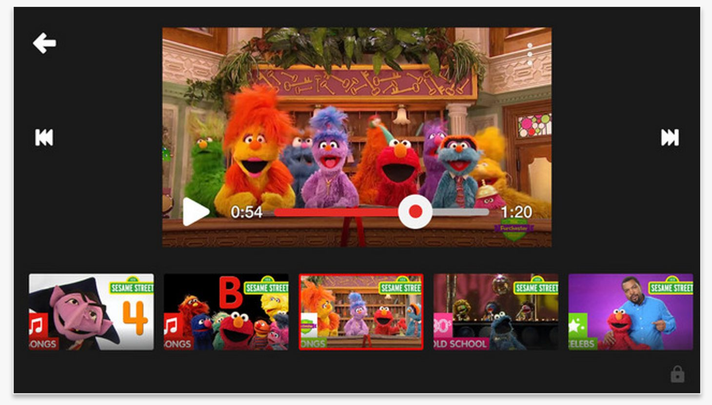 Screen Shot of Sesame Street playlist on YouTube Kids app