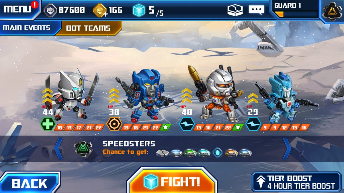 This Bot Team, Speedsters, offers the chance to win some rare Cores