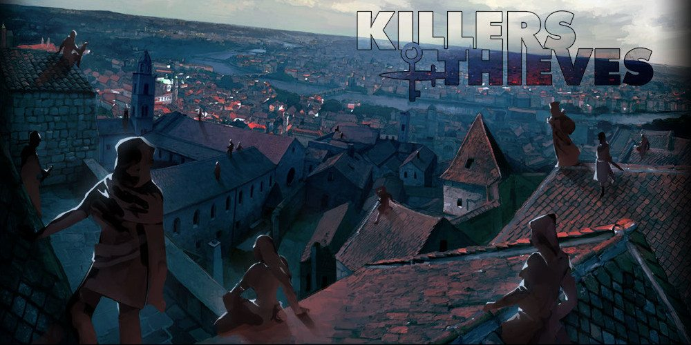 A group of thieves on rooftops overlook the city they plan to pillage.