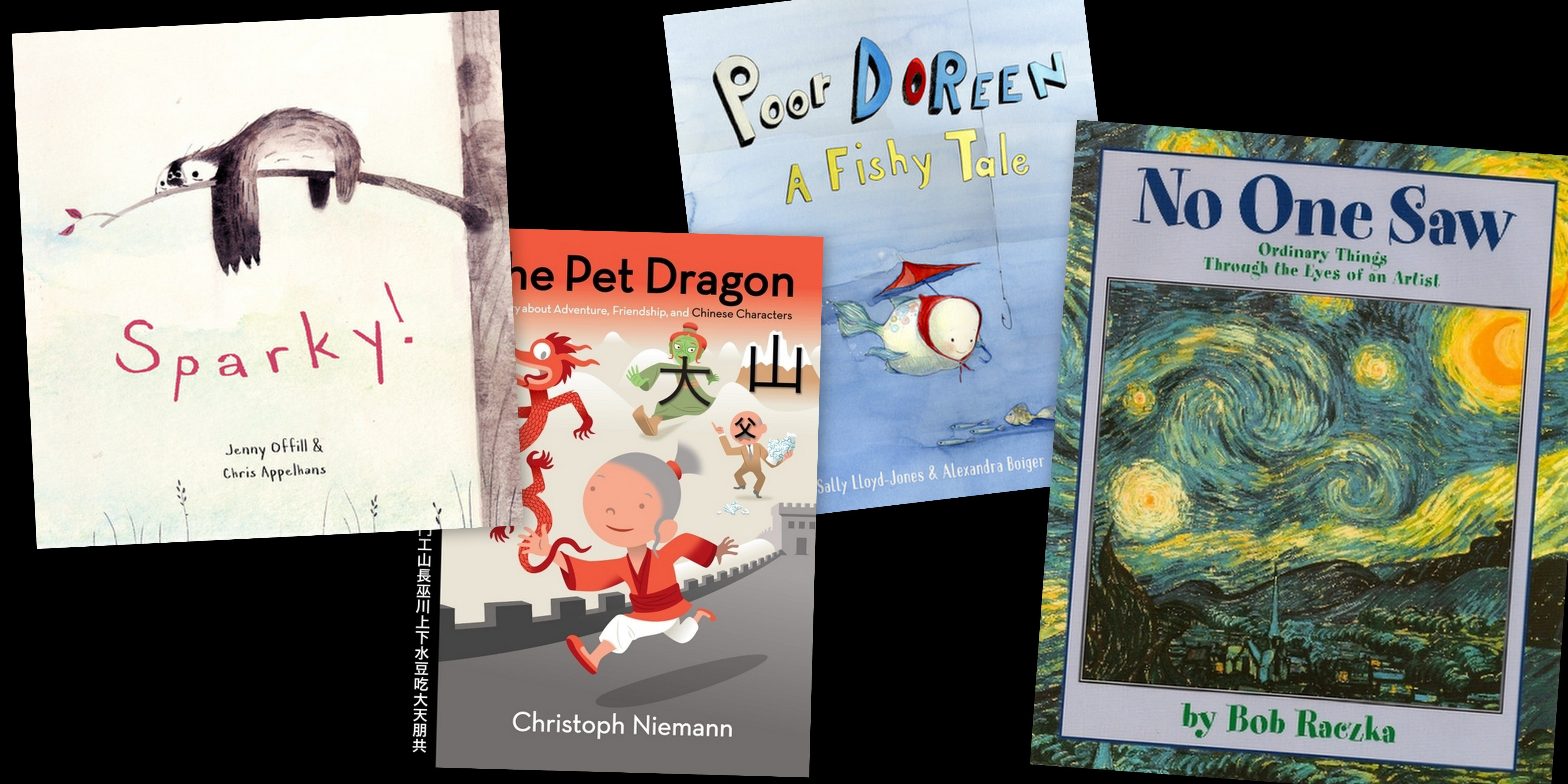 GeekMom Ariane's favorite picture book library finds this month: Sparky!, The Pet Dragon, Poor Doreen, and No One Saw
