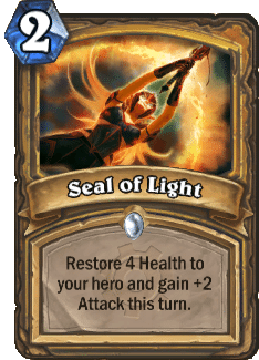 """The card """"Seal of Light"""" from Hearthstone."""