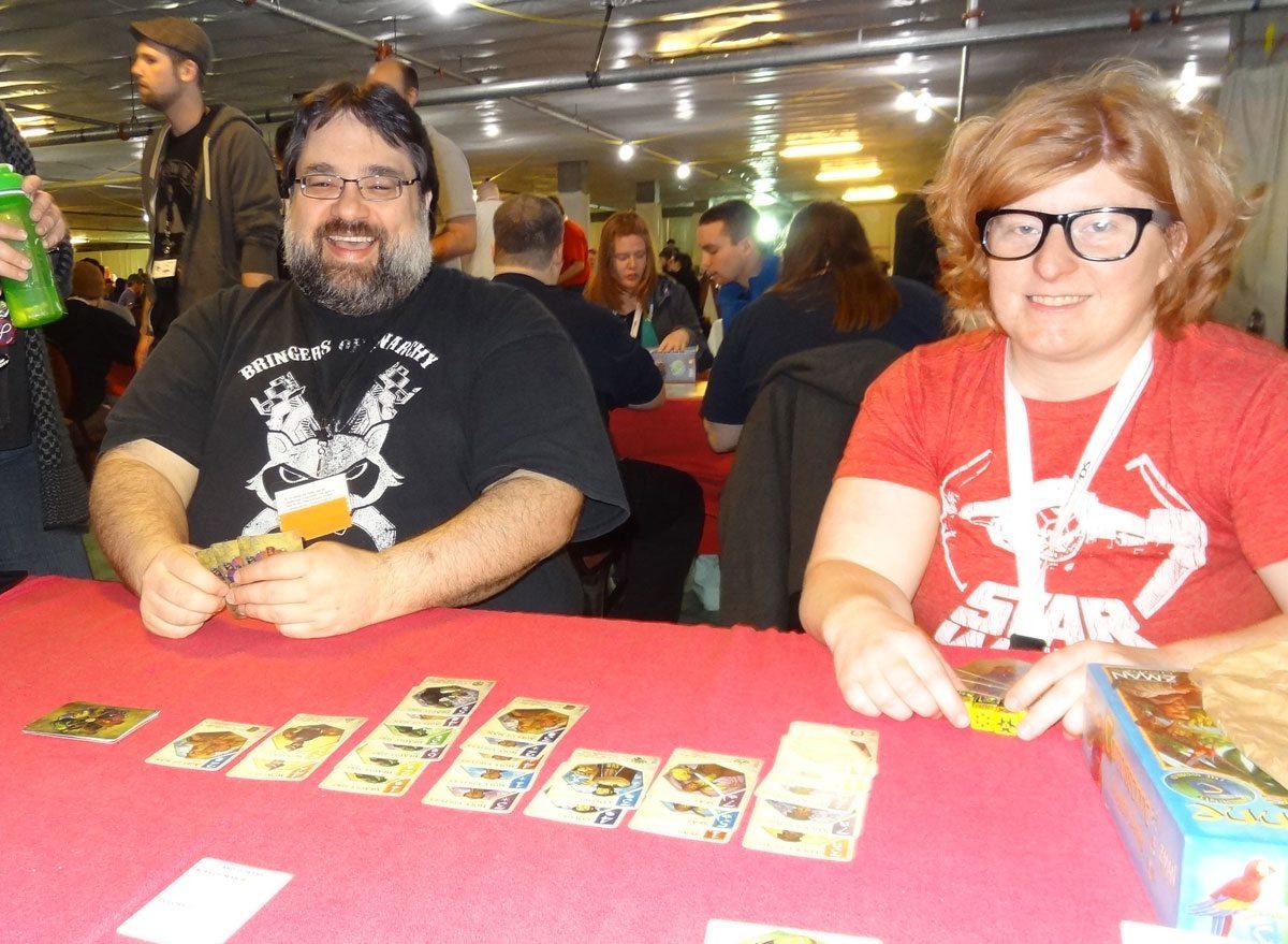 play Seven7s with Levi Mote of Bonsai Games, Tessa Van Boxtel of Board Game Duel. Photo: Jonathan H. Liu