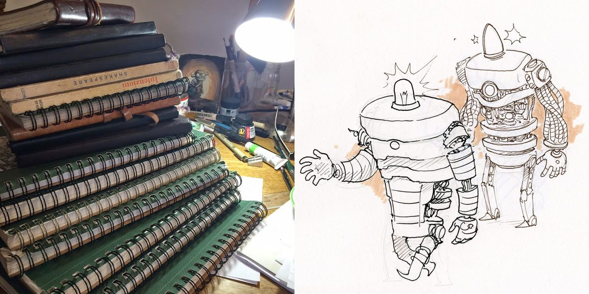 Ben Hatke sketchbooks, robots