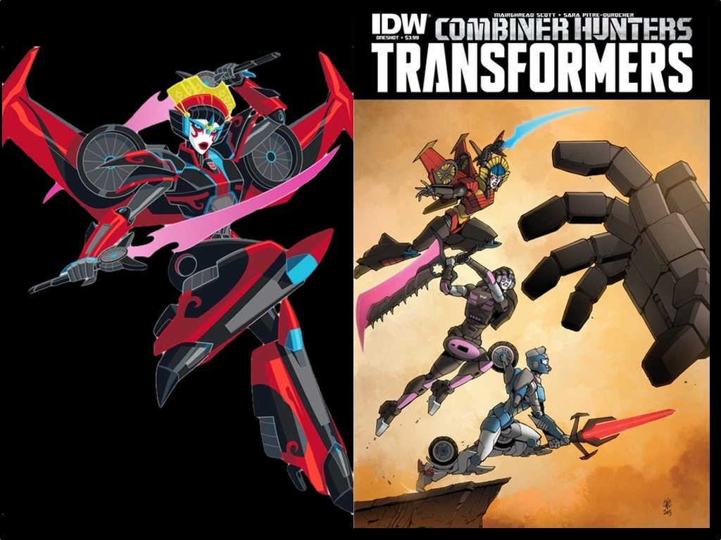 Left, Windblade's 'RiD' model; Right, Leading the charge in 'Combiner Hunters'