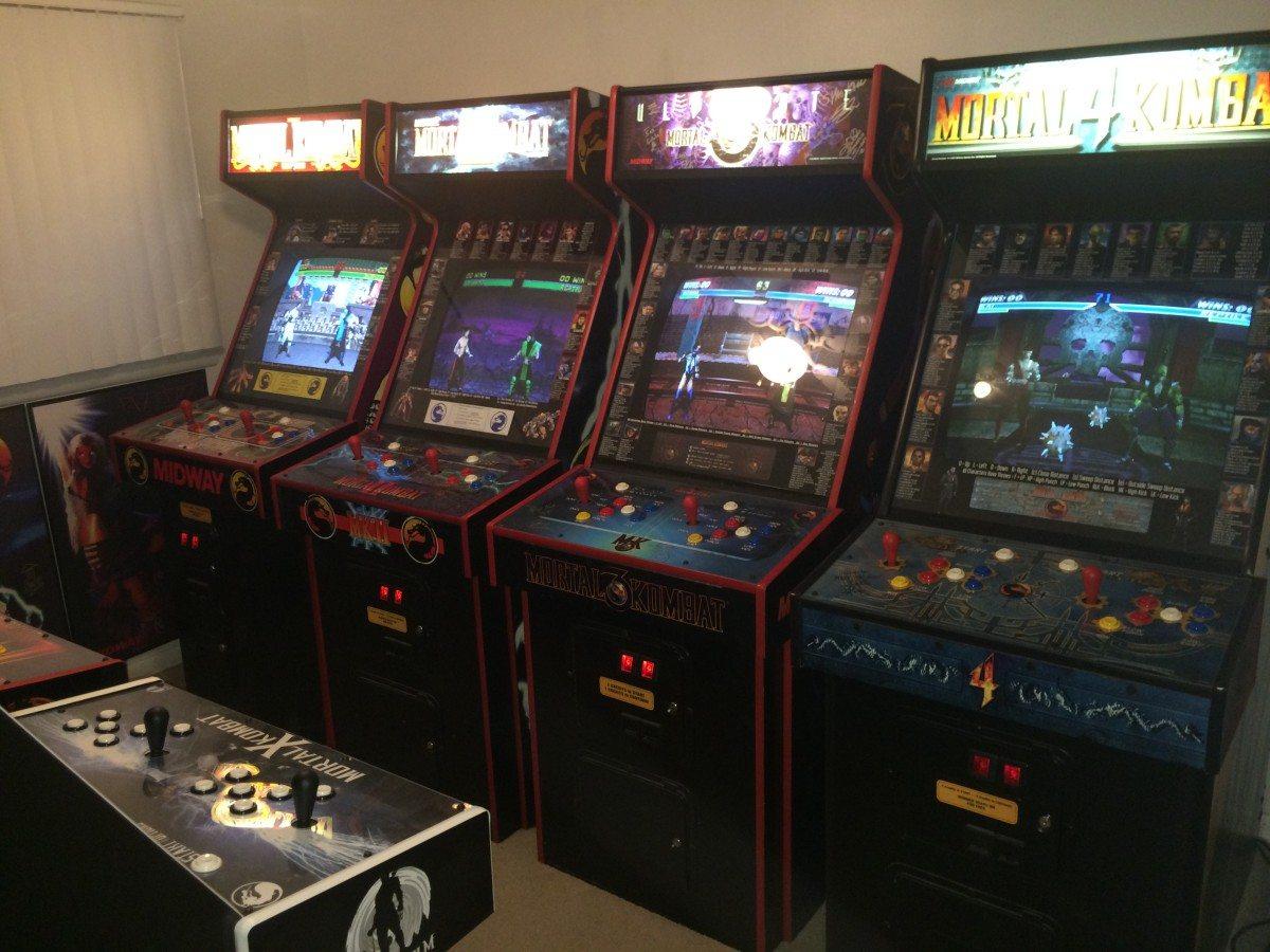 Row of Mortal Kombat arcade games
